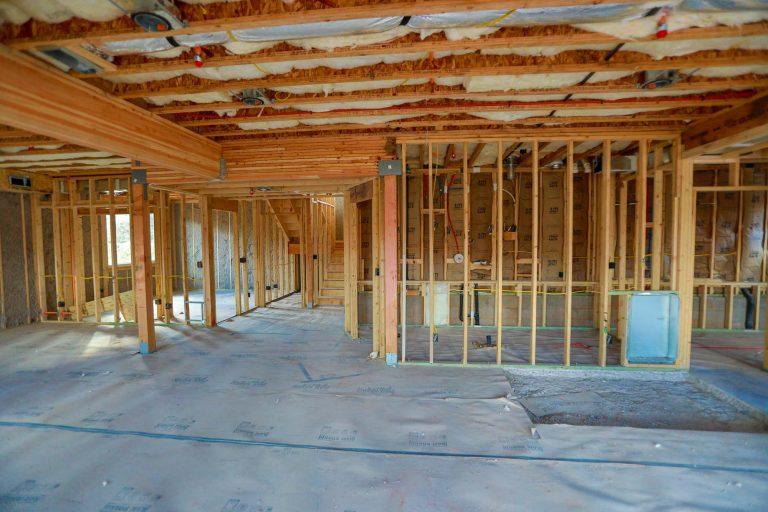Framing of interior walls in new build